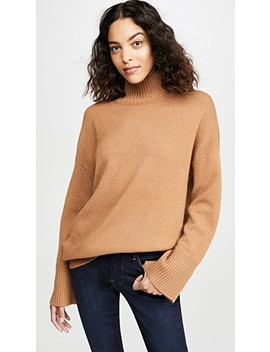 High Low Cashmere Mock Neck Sweater by Frame