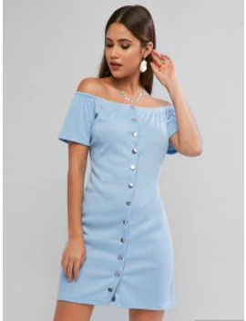 New Ribbed Button Through Off Shoulder Bodycon Dress   Baby Blue M by Zaful