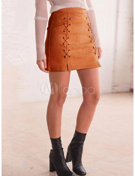 Brown Bodycon Skirt Suede Criss Cross Short Skirt For Women by Milanoo