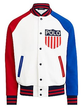 Colorblock Logo Graphic Double Knit Tech Bomber Jacket by Polo Ralph Lauren