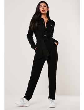 Black Button Through Denim Boiler Suit by Missguided