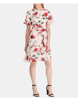 Belted Floral Print Georgette Dress by General