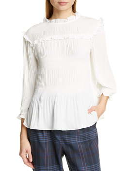 Airlie Pleat High Neck Blouse by Ted Baker London