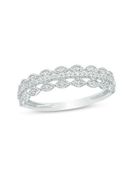 1/15 Ct. T.W. Diamond Scallop Edged Multi Row Vintage Style Anniversary Band In 10 K White Gold by Clearance
