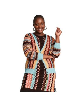 Women's Plus Size Colore Zig Zag Long Sleeve V Neck Button Front Cardigan   Missoni For Target by Neck Button