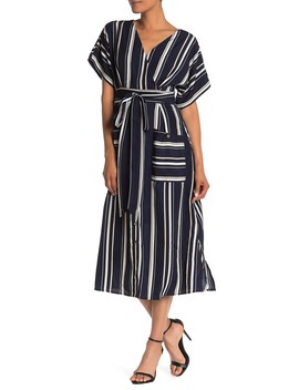 Striped Short Sleeve Midi Dress by One One Six