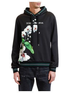 Men's Orchid Print Logo Hoodie Sweatshirt by Dolce & Gabbana