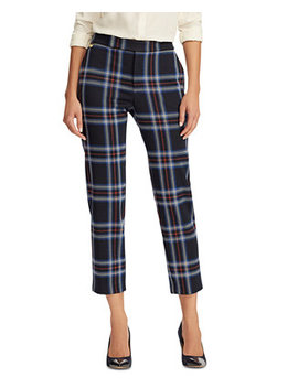 Plaid Print Stretch Straight Pants by General