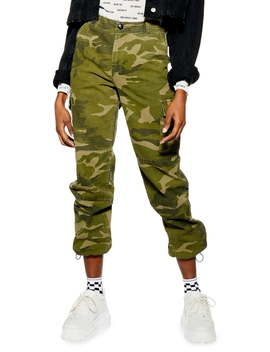 Frida Cropped Camouflage Trousers (Regular & Petite) by Topshop