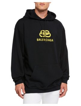 Men's New Bb Logo Graphic Pullover Hoodie by Balenciaga