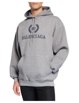 Men's Logo Front Pullover Hoodie by Balenciaga