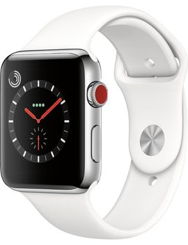 Geek Squad Certified Refurbished Apple Watch Series 3 (Gps + Cellular) 42mm Stainless Steel Case With White Sport Band   Stainless Steel by Apple