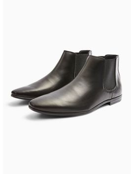 Black Leather Briar Chelsea Boots by Topman