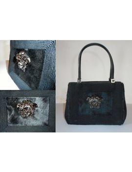 Gianni Versace Medusa Head Emboidered Leather & Fur Handbag Vintage 1990s Unused by Gianni Versace