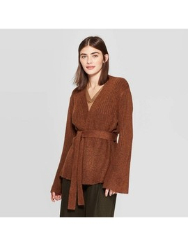 Women's Long Sleeve Open Front Belted Ribbed Cardigan   Prologue Brown by Front Belted Ribbed Cardigan