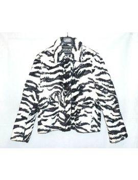 Versace Ladies Short Faux Fur Jacket White Black Zebra Animal Coat S Gianni by Versace