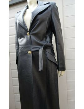 Womans Versace Full Length Black Leather Coat Size Small Fantastic Condition by Versace