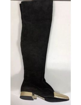 Rare Vtg Gianni Versace Aw1994 Black Suede Gold Leather Boots Size 35.5 by Versace