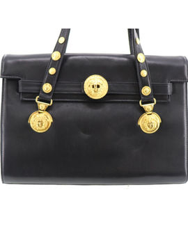 Gianni Versace Shoulder Hand Bag Black Gold Leather Vintage Authentic #Y411 I by Gianni Versace
