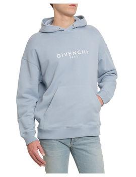 Men's Distressed Logo Print Hoodie Sweatshirt by Givenchy
