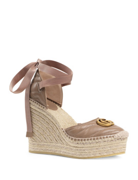 Palmyra Leather Platform Espadrille Wedges by Gucci