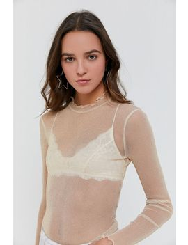 Uo Sparkly Metallic Sheer Mesh Top by Urban Outfitters