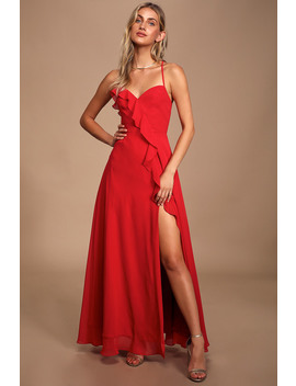 Moonlit Moment Red Ruffled Maxi Dress by Lulus