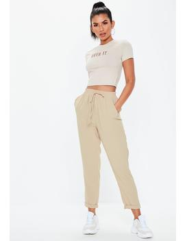 Stone Elasticated Slim Leg Trouser by Missguided