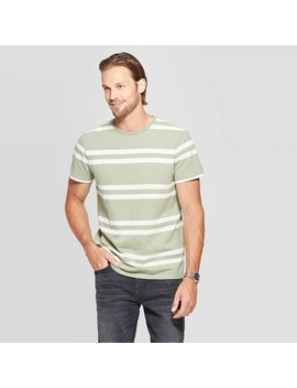 Men's Striped Standard Fit Short Sleeve Crew Neck T Shirts   Goodfellow & Co Green by Shirts