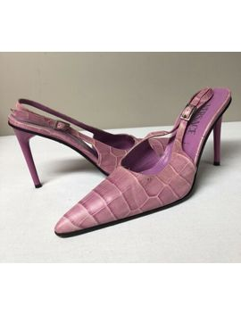 Versace Leather Slingbacks Heels Shoes Made In Italy 36 Us Size 6 by Versace
