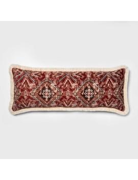 Oversized Oblong Medallion Print Velvet Tufted Throw Pillow Red   Threshold by Threshold