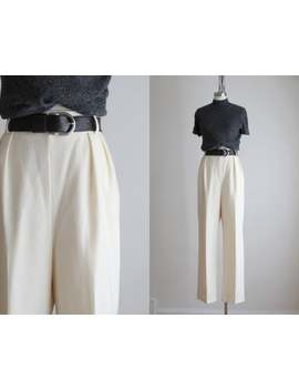 Eggshell Wool Trousers by Etsy