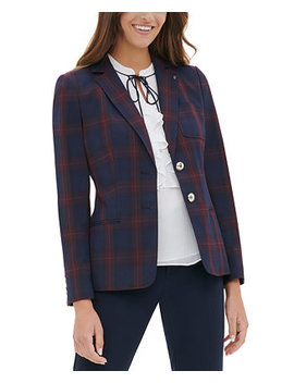 Elbow Patch Plaid Blazer by General