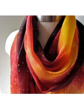 Made To Order: Galaxy Scarf   Fire Colored Scarf   Katniss   Hand Painted by Etsy