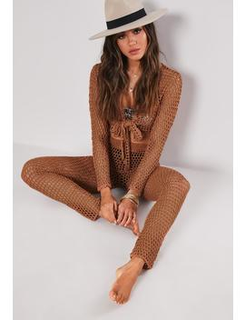Brown Crochet Co Ord Pants by Missguided