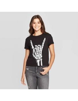 Women's Skeleton Bones Short Sleeve Graphic T Shirt (Juniors')   Black by Shirt (Juniors')