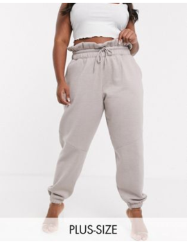 Missguided Plus Paperbag Waist Sweatpants In Gray by Missguided's
