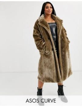 Asos Design Curve Plush Faux Fur Maxi Coat With Seam Detailing In Gray by Asos Design