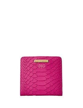 Python Embossed Leather Mini Folding Wallet by Gigi New York