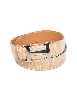 Hermès Reversible Porosus Crocodile Leather & Palladium Constance Belt, Os by Hermes