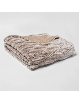 55x80 Solid Faux Fur Bed Throw   Threshold by Threshold