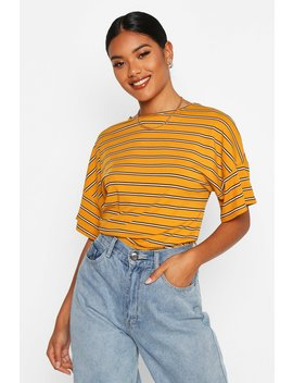 Oversized Striped Rib T Shirt by Boohoo