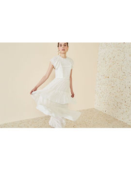 Nwt Ulla Johnson Lenore Silk Ruffled Chiffon Wedding Party Dress Pearl Off White by Ulla Johnson