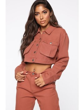 Leslie Cargo Jacket   Rust by Fashion Nova