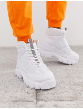 Public Desire Ironic White Chunky Hi Top Sneakers by Public Desire
