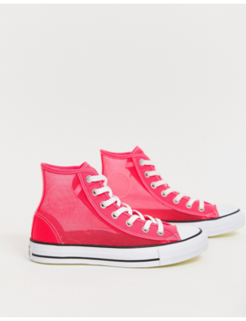 Converse Pink Mesh Chuck Taylor Hi Sneakers by Converse