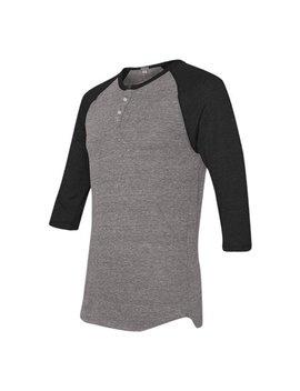 Mato & Hash 3 Button Henley Raglan T Shirt 3/4 Sleeve   Heather Grey/Black Ca5100 S by Mato & Hash