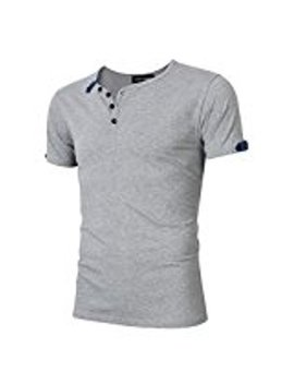 Yong Horse Men Casual V Neck Short Sleeve Sport Fitted Henley T Shirt Black S Color:Grey Size:S by Akd Steel