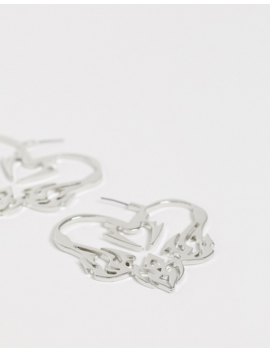 Asos Design Hoop Earrings In Tattoo Heart Design In Silver Tone by Asos Design