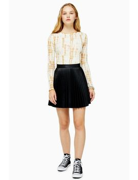 Black Pu Pleated Mini Skirt by Topshop